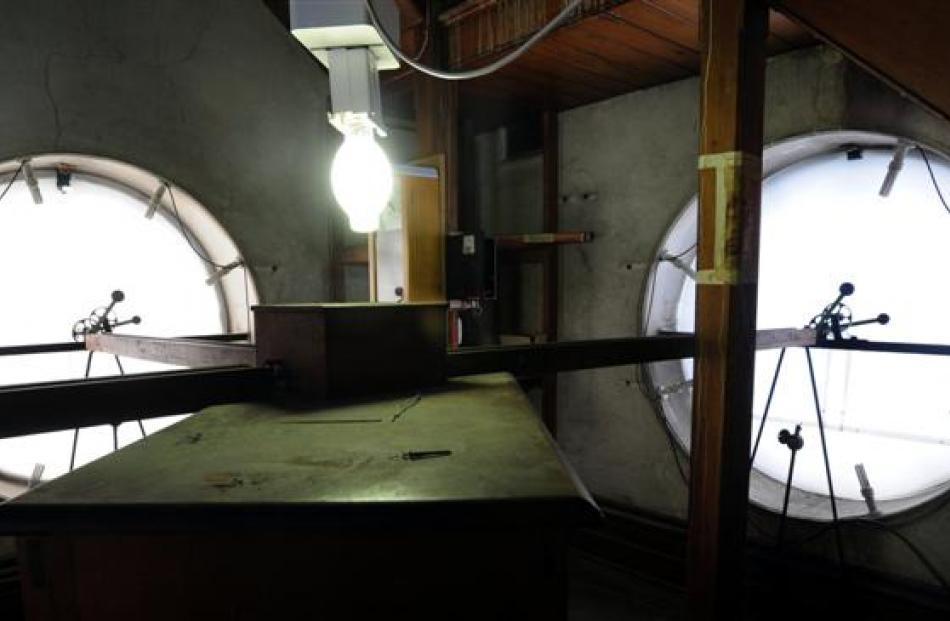 The inside of the clock face.