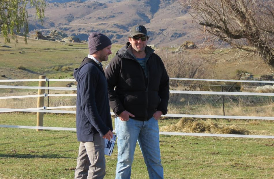 Having a joke ... Sharing a laugh are, from left, Tom Ballantine, of Earnscleugh Station, and Stu...