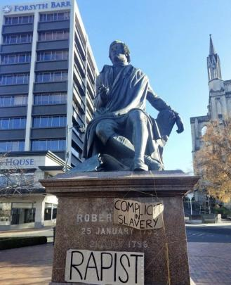 The Robbie Burns statue in the Octagon on Saturday. PHOTO: SUPPLIED