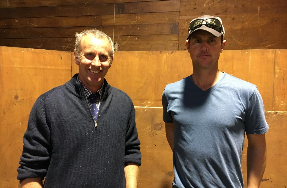 Andrew Laing (left) was thrilled with the Sudeley Angus on-farm bull sale after Central Otago...