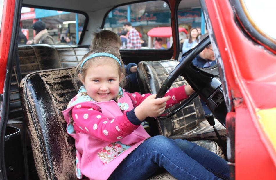 Pictured at the Kids in the City event in the Invercargill CBD on Saturday are Emma Duthie (5);