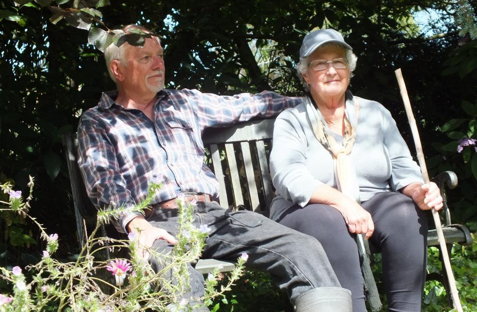 Robin and Wendy Ross take a break on a seat by the pond. Photos: Gillian Vine