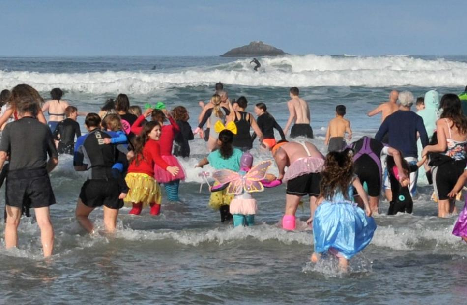 Participants revel in the cold waters at the Polar Plunge yesterday. PHOTOS: GERARD O'BRIEN