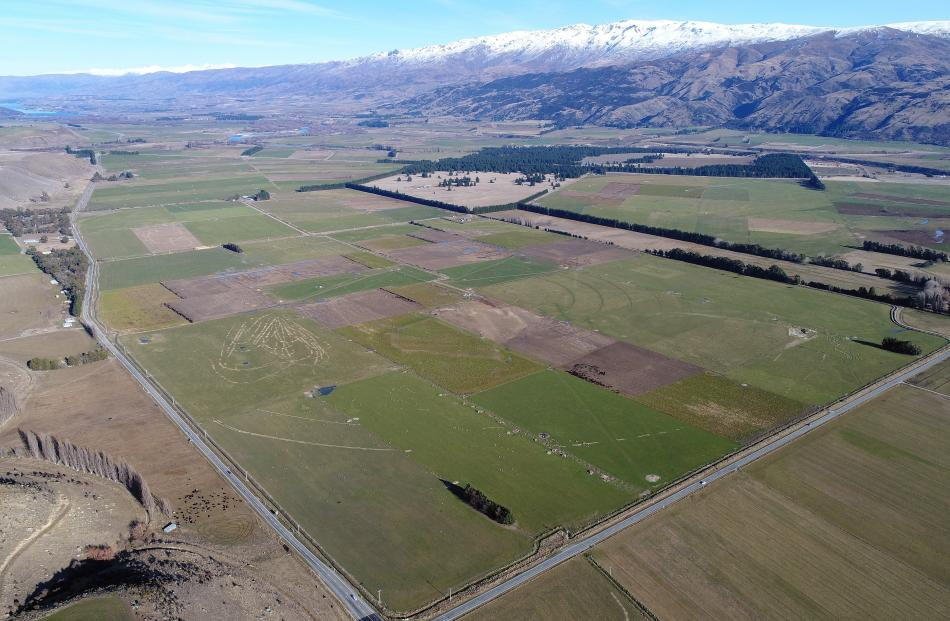 The site of the proposed Tarras airport looking towards Lake Dunstan bounded by State Highway 8 ...