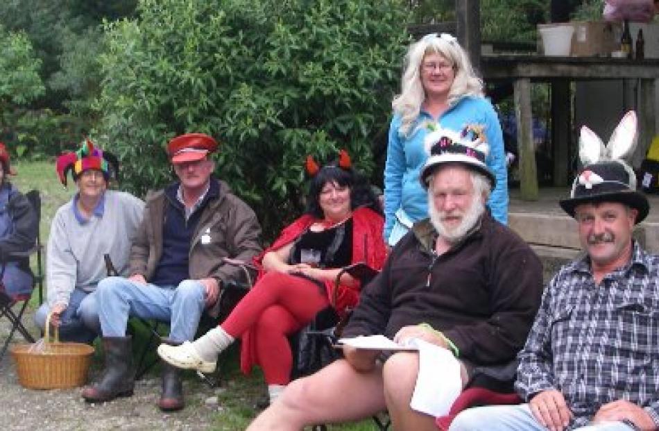 Mad hatters (from left) Bronwyn O' Brien, Frank O'Brien, Julie Sanderson, Helen Forde, Sandy...