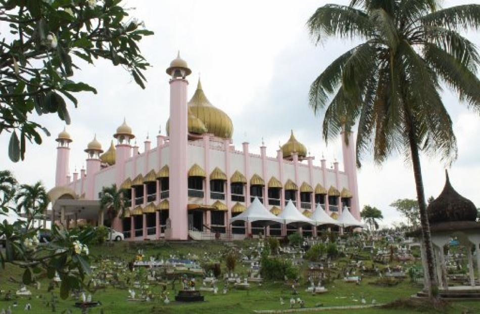An elegant pink mosque, one of the city's more traditional sights.