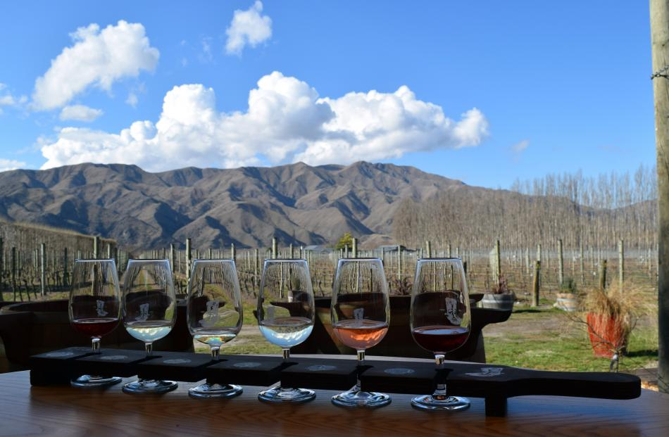 A tasting tray of red and white wines was on offer at River-T Estate wines in Kurow.