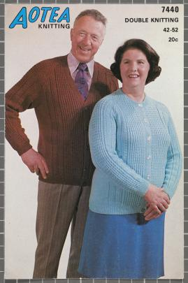 Aotea 7440 features a mature couple in matching cardigans with different neck lines.