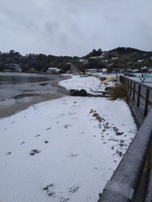 Snow fell to sea level at Oban on Stewart Island. Photo: Nik Hurring