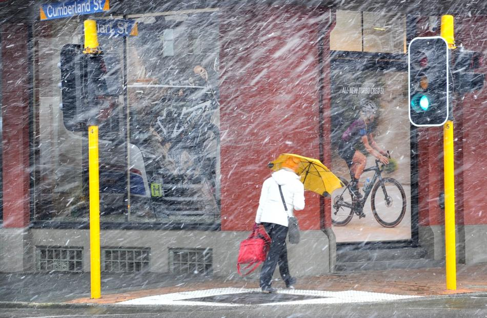 Central Dunedin had snow flurries several times on Tuesday. Photo: Christine O'Connor