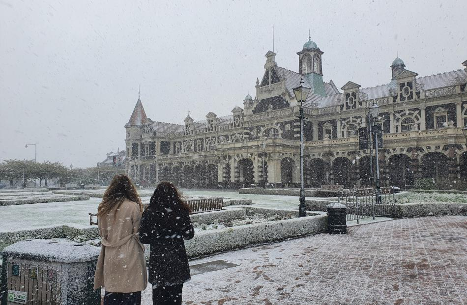 Snow added a fairytale touch to Dunedin's Railway Station on Tuesday morning. Photo: Vaughan Elder
