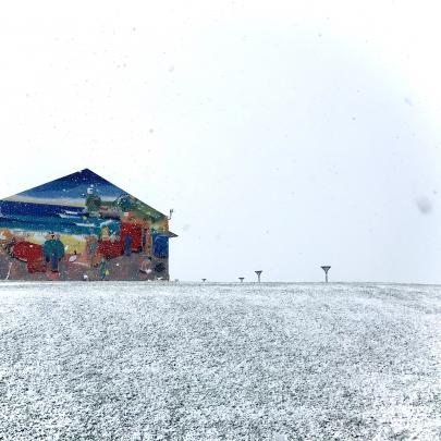The mural at the St Clair surf lifesaving club provided some much needed colour at the beach today. Photo: Luke Campbell