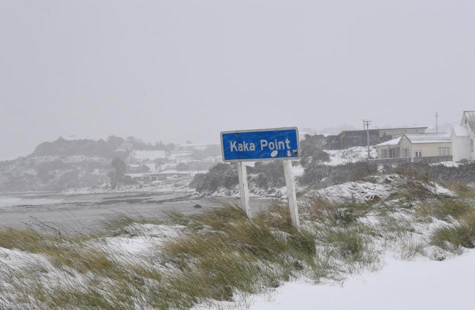 Snow continues to pelt Kaka Point. Photo: Stephen Jaquiery