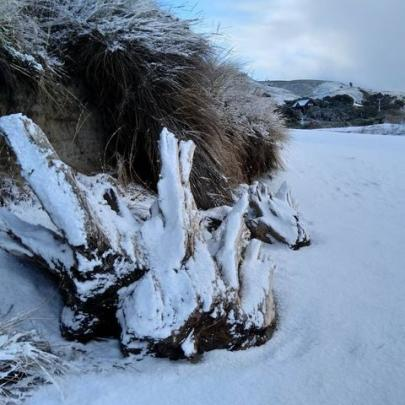 Even Brighton Beach had a dusting of snow this morning. Photo: Zoe Armstrong