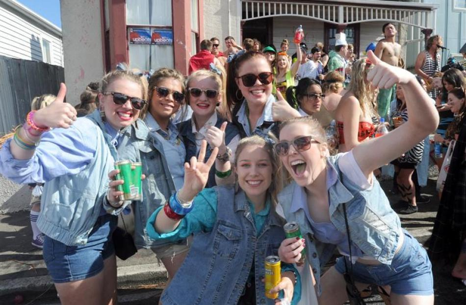 A group of party-goers dress in 'double denim'.