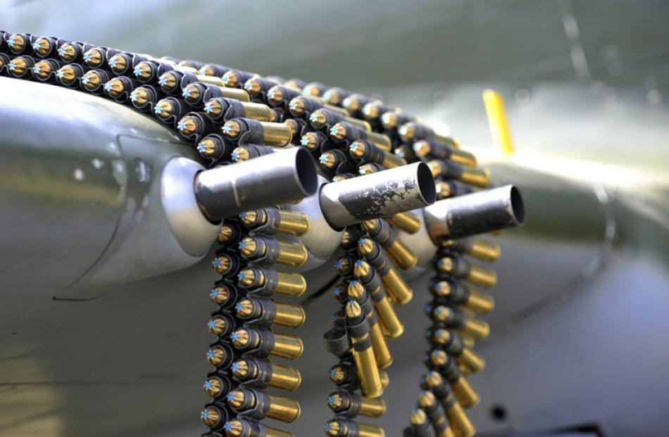 Ammunition and guns on the only live firing Kittyhawk P40 in the world, Sunday morning.