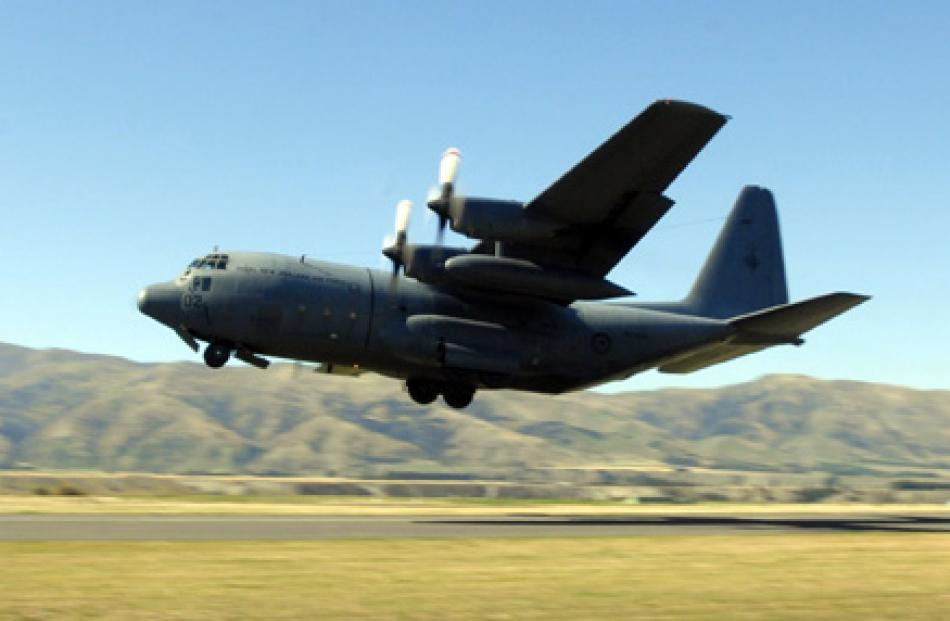 An RNZAF C130 Hercules aircraft takes off during Warbirds over Wanaka on Saturday afternoon.