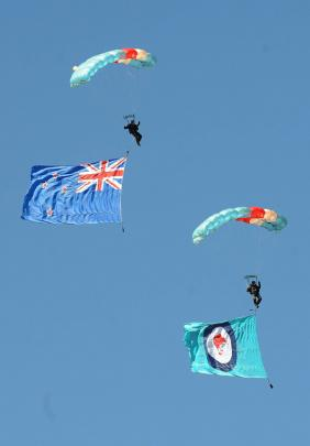 The  parachute display during the Warbirds Over Wanaka 2012 Friday session.
