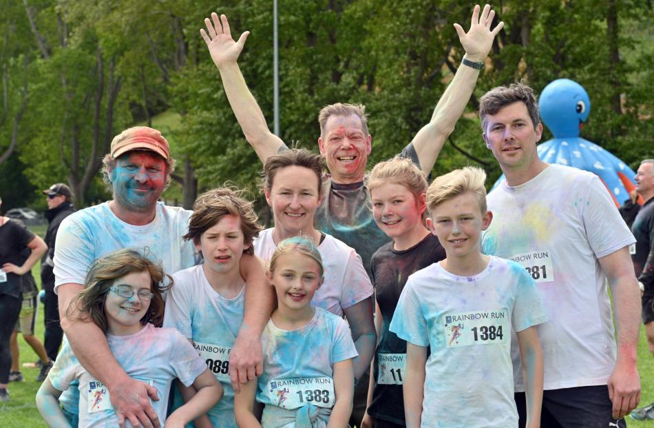 Rainbow Run participants relished the occasion yesterday. Front row (from left) Charlotte Preston...