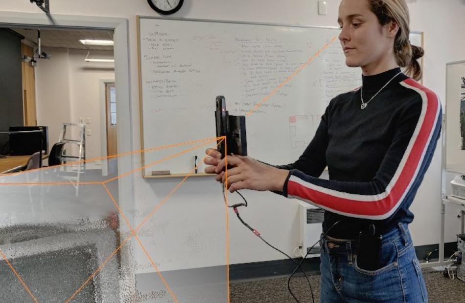 University of Otago research assistant Rosa Lutz tests the prototype.