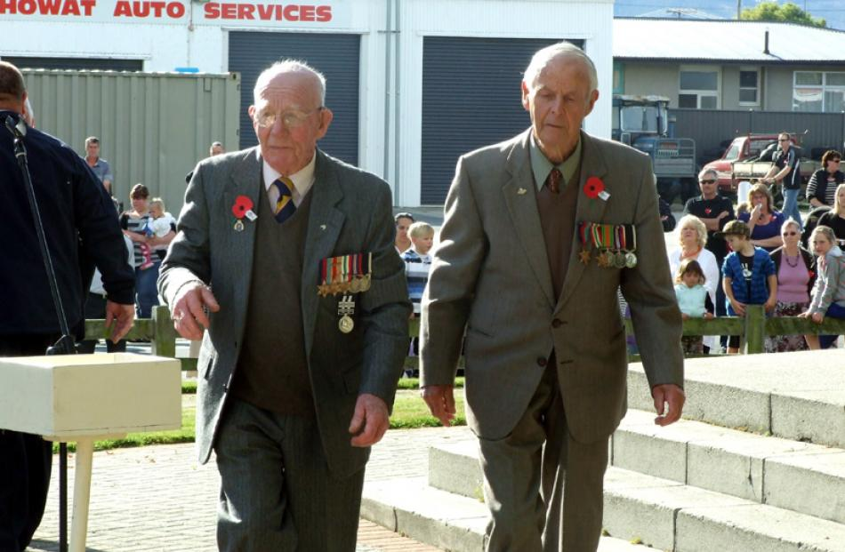 Second World War veterans William Sinclair (right) and Colin Flett, members of the Milton Bruce...