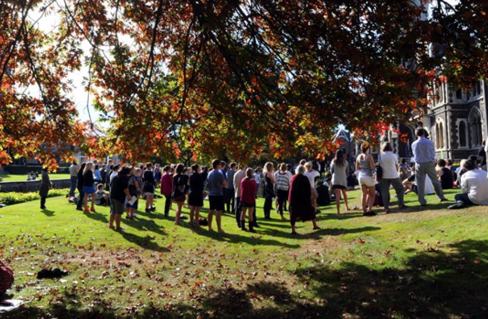 Gathering on the University of Otago lawn.