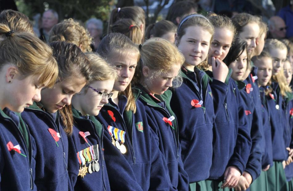 Pupils from Tahuna Intermediate attend the wreath laying ceremony at Andersons Bay Cemetery.