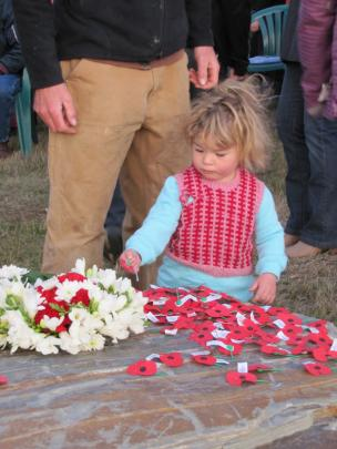 Ava Webb (2) places her poppy at the Lake Hawea dawn service.