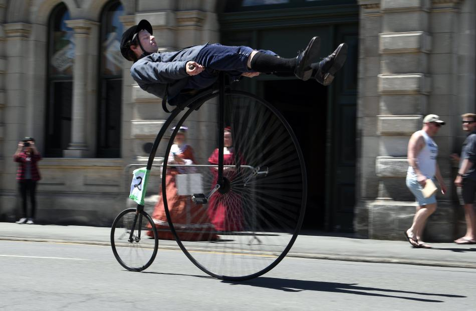 Practising his tricks before the 26th Heritage Bicycle Championship is Oliver Briggs, of Oamaru.