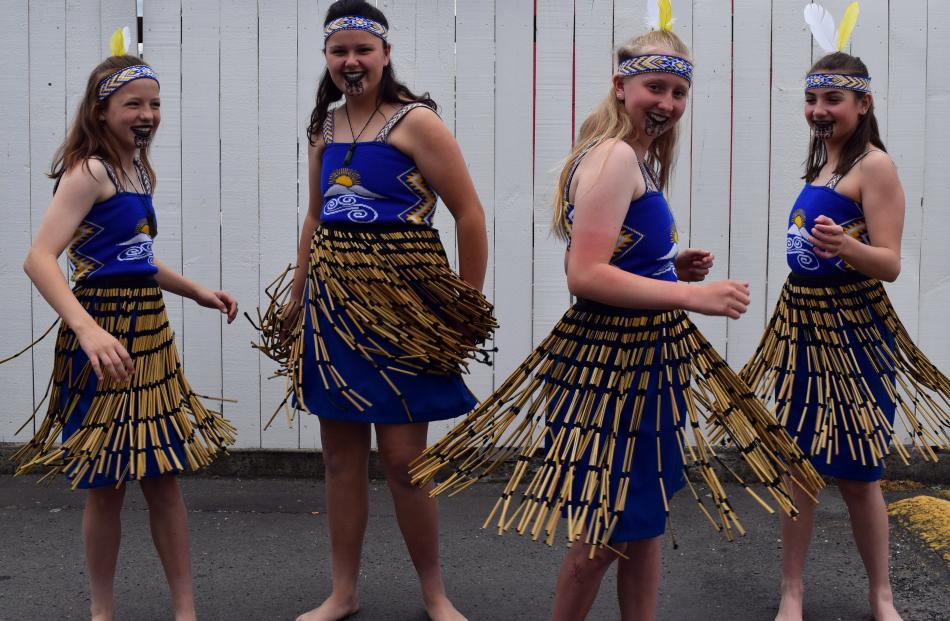 Twirling their piupiu skirts at the Tribal Nations Motorcycle Club Mosgiel Family Community Fun...