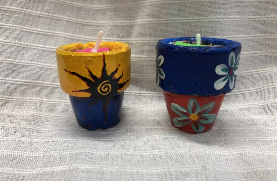 Candles in pots