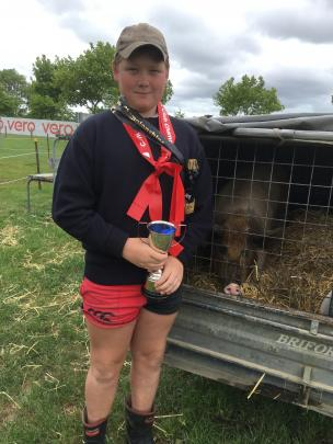 Broomfield School pupil Gus McLachlan (13) was thrilled to have his pet pig ''Pigasso'' at the...