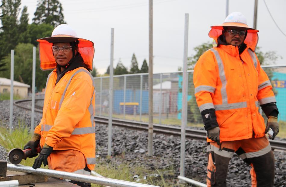 Libbet civil construction workers Palea Ah Ken (left) and Ete Ah Ken, of Auckland, build a $75...