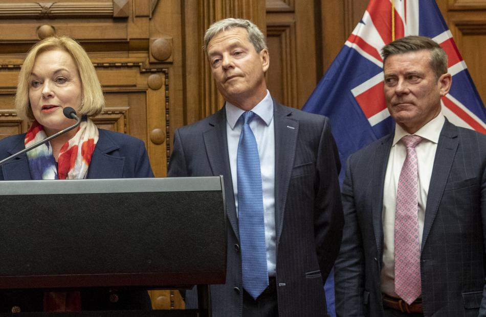Judith Collins announces  finance duo Andrew Bayly and Michael  Woodhouse. PHOTO: MARK MITCHELL