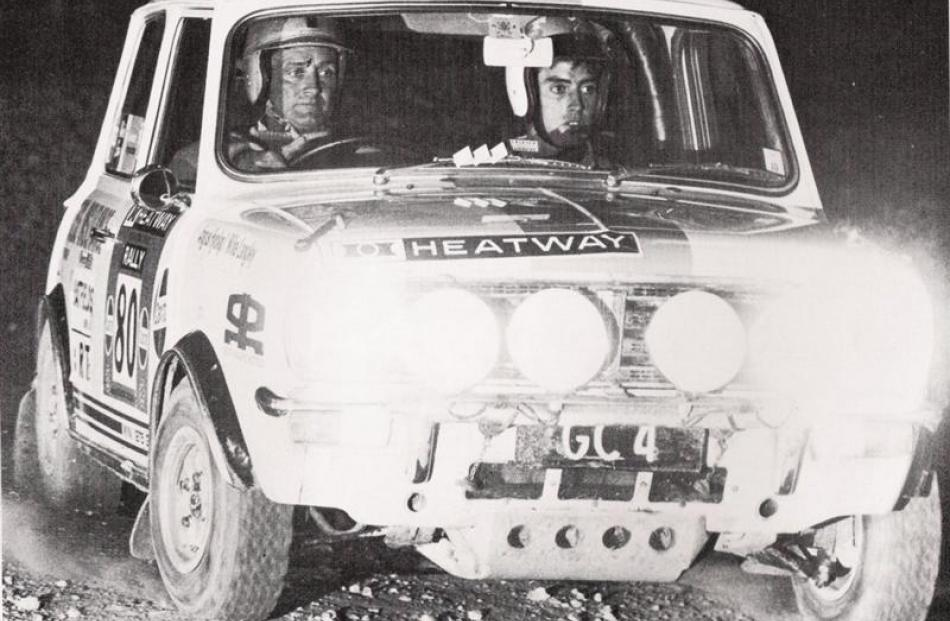 Hyslop and Langley in the car tackling a night stage in the 1972 Heatway International Rally....