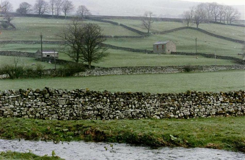 A view of the gently sloping  Yorkshire Dales.