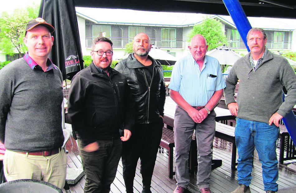 Franz Josef businessmen (from left) Logan Skinner, Adam Haugh, Billy Whiteman, Chris Roy and Ian...
