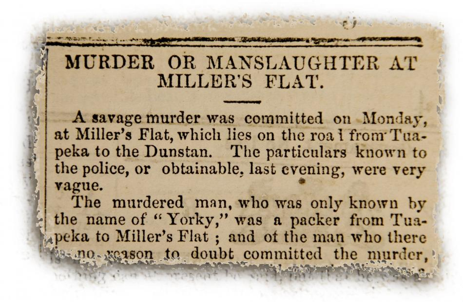 The Otago Witness records Yorky's violent death in its edition of March 28, 1863.