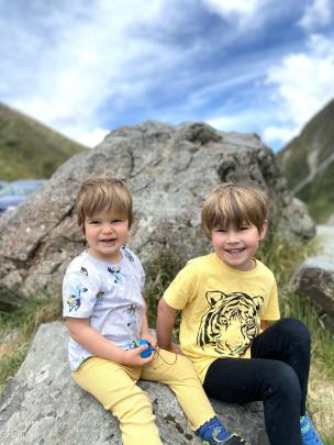 Rowan (2) and Finn (5) Barrett-Young at Arthurs Pass on their family's way home to Dunedin from...