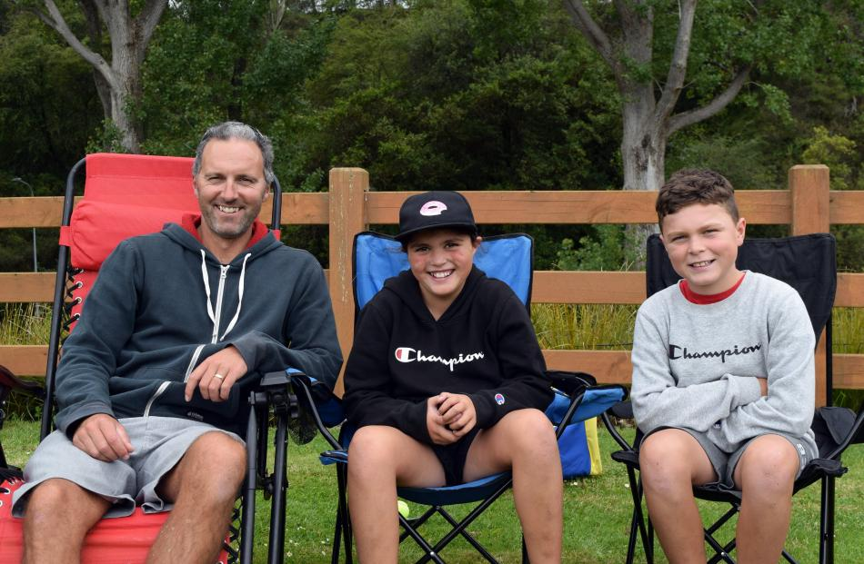 Steve Mitchell and his children, Olivia (10) and Lachie Mitchell (11), all of Waldronville,...