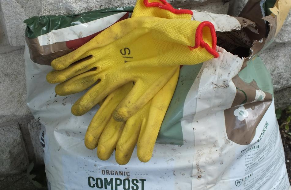 It's not sissy but essential to wear gloves and a mask when handling potting mixes and compost.