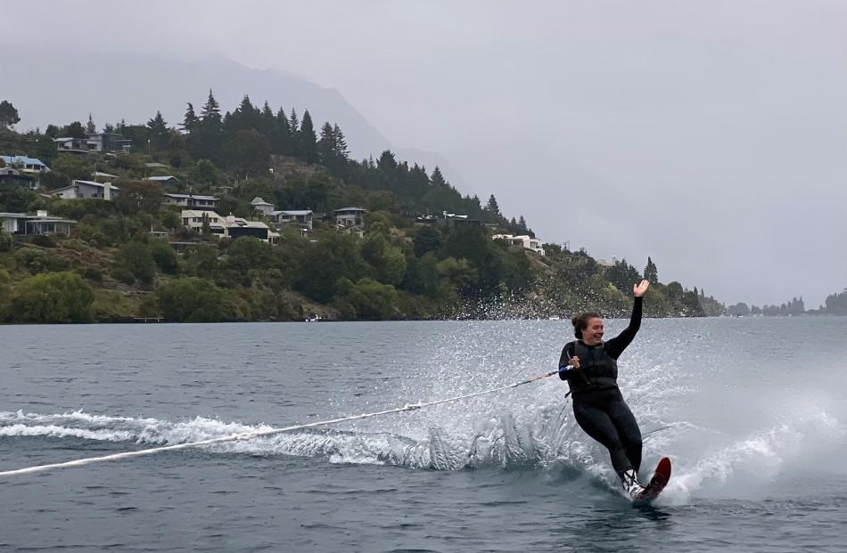 Myfy Norton waterskis on Lake Wakatipu on January 5. PHOTO: GILLIAN MACLEOD