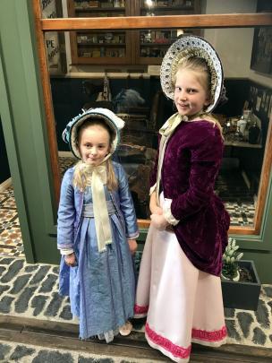 Elizabeth Crawford (9, left) of Christchurch, and Amelia Claridge (9), of Oamaru, dress up for a...
