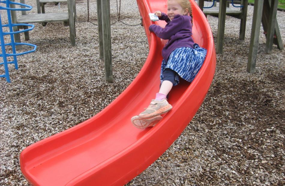 Bracken Mangan (5) at a playground in St Albans, Christchurch, on December 27. PHOTO: BARRIE MANGAN