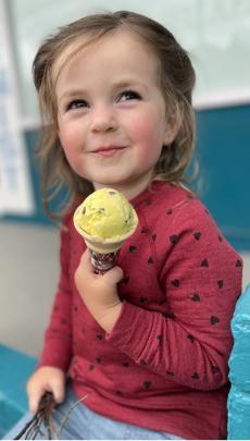 Grace Thompson (2)   enjoys an ice cream. PHOTO: CATHERINE SHORT