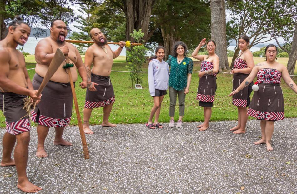While in Waitangi, Aditi (12) and Sahana Poojari watched a Maori cultural performance by Te Pito...