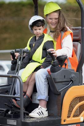 Scarlett Ingram (13) and her cousin Xavier Spinner (4), both of Dunedin, have a go at being...