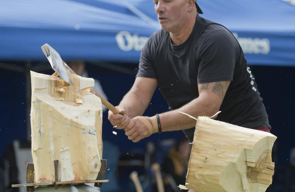 Darren Falconer, of Dunedin, competes during the Otago Axeman's Club timber sports demonstration.