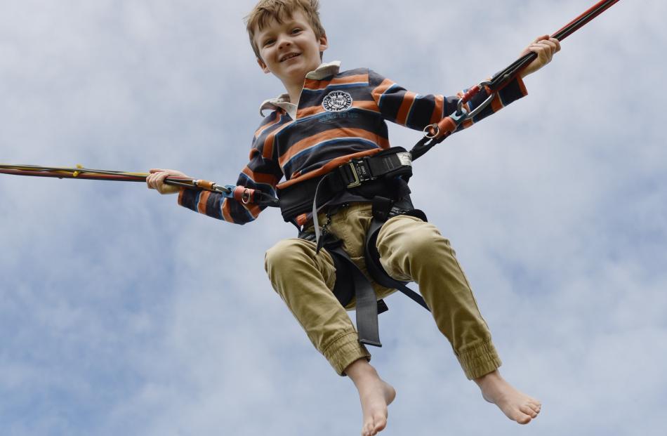 Aaron Horwood (8) has a bounce into the sky. PHOTOS: GERARD O'BRIEN