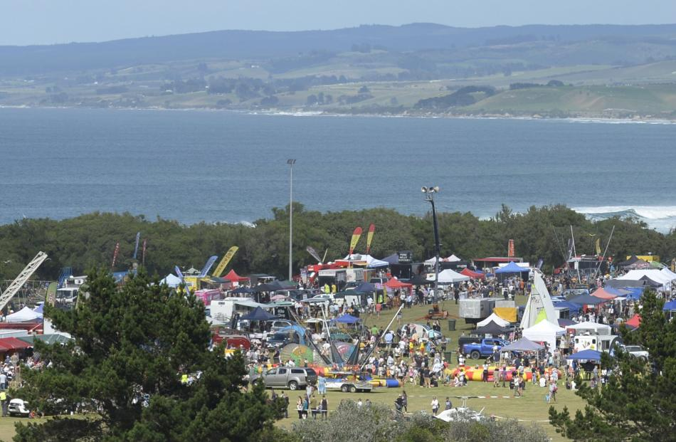 Stalls, vehicles and people fill the Brighton Domain for yesterday's gala.